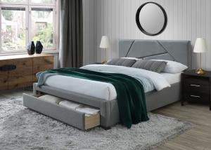 HALMAR Valery 160 čalúnená manželská posteľ s úložným priestorom sivá
