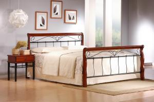 HALMAR Veronica 160 kovová manželská posteľ s roštom čerešňa antická / čierna