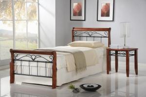 HALMAR Veronica 90 kovová jednolôžková posteľ s roštom čerešňa antická / čierna