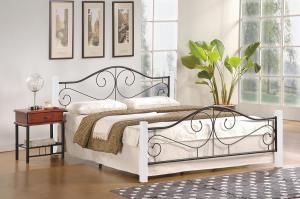 HALMAR Violetta 160 kovová manželská posteľ s roštom biela / čierna