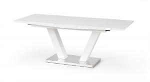 HALMAR Vision rozkladací jedálenský stôl biely lesk / nerezová
