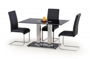 HALMAR Walter 2 sklenený jedálenský stôl čierna / nerezová