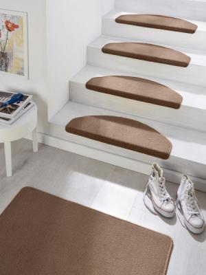 Hanse Home Collection koberce Sada 15ks nášlapů na schody: Fancy 103008 hnědé - 23x65 půlkruh (rozměr včetně ohybu), sada 15 ks