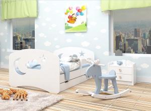 Happy Babies Detská posteľ Happy dizajn/oblak,hviezda,mesiačik Farba: Ružová / Biela, Prevedenie: L04 / 80 x 160 cm /S úložným priestorom