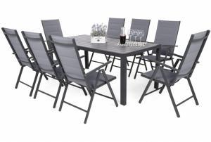 Hliníkový záhradný set Ibiza 185 cm sivá / sivá 8 + 1