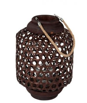 Hnedá drevená lampáš Knitti wood - Ø 32 * 45 cm