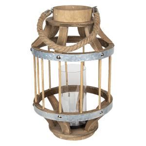 Hneda drevena lampáš Renee - Ø 22*35 cm