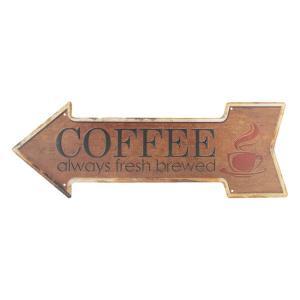 Hnedá plechová ceduľa Coffee - 46 * 15 cm