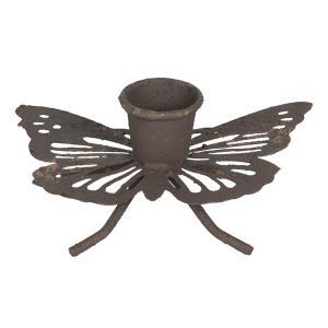Hnedý hrdzavý retro svietnik v tvare motýľa - 9 * 6 * 4 cm