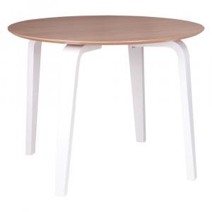 Hnedý jedálenský stôl s bielym podnožím sømcasa Nora, ø 100 cm