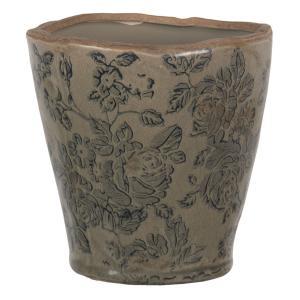 Hnedý keramický kvetináč s modro šedou potlačou a popraskaním M - Ø 12 * 11 cm