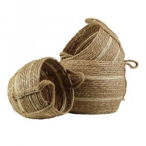 Hnedý pletený jutový košík Ecru (1ks) - 23 * 18,5 * 18cm