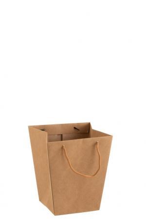 Hnedý vodeodolný kvetináč v tvare tašky - 22*22*25 cm