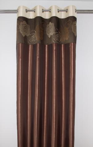 Hnedý záves s hnedými kvetmi 140 x 250 cm