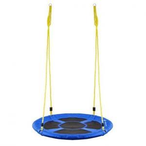 Hojdací kruh bocianie hniezdo - 110 cm - čierno-modré + žlte laná
