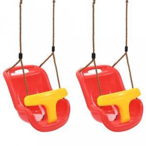 Hojdačky pre batoľatá 2 ks červená / žltá Dekorhome