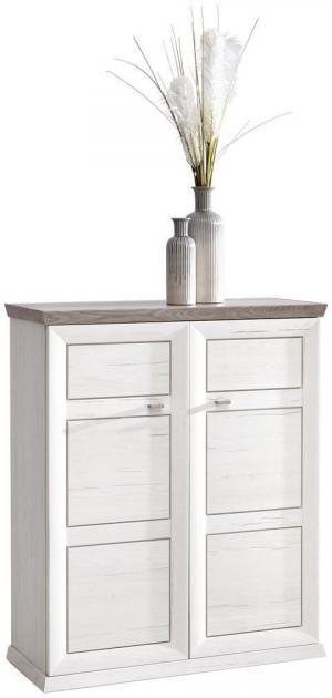 Hom`in SKRINKA NA TOPÁNKY, sivá, biela, 90,2/108,5/38,5 cm - sivá, biela