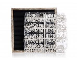 HOME DECOR Tabule s písmeny 30 x 30 cm, rám dekor dřevo
