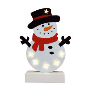 HOME LED filcová figúrka na stôl, snehuliak