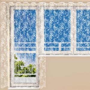 Hotová žakárová záclona STELLA - balkónový komplet