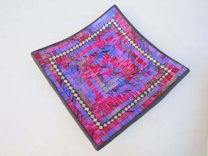 Hranatá miska fialová, ručná mozaika, Indonézia