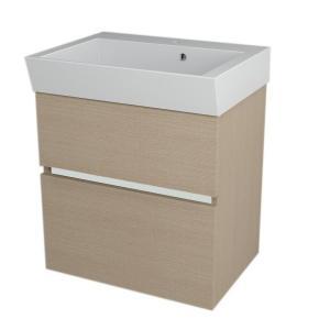 Hranatá závesná skrinka pod umývadlo LARGO, 59x60x41 cm, dub benátsky