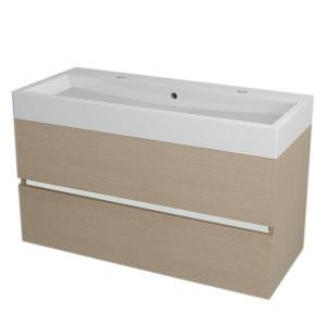 Hranatá závesná skrinka pod umývadlo LARGO, 99x50x41cm, dub benátsky