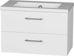 Hranatá závesná skrinka TREND 80-07 s umývadlom z liateho mramoru, zásuvková - C