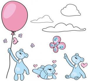 Hravá modro ružová nálepka na stenu zaľúbené myšky