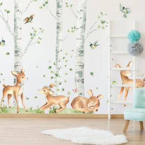 Hravé srnky v brezovom lese - samolepky do detskej izby