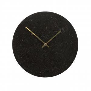 Hübsch Nástenné mramorové hodiny Black Gold