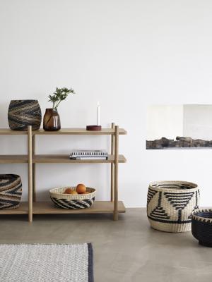 Hübsch Pletený košík Paper Rope Black & Nature Väčší