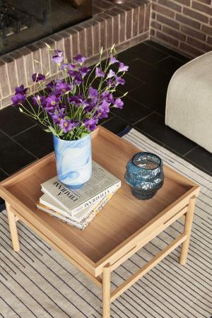 Hübsch Sklenená váza Blue Asymmetric 18cm