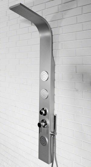 Hydromasážny sprchový panel hliníkový 8721 SATINA