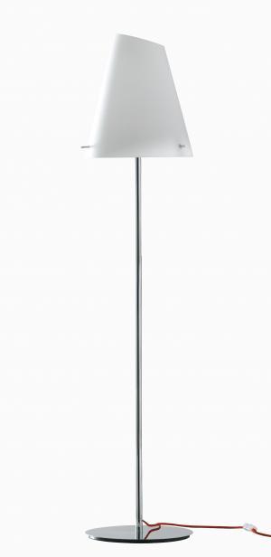 I-ERMES-PT stojací lampa lesklý chrom 1xE27 bílé sklo a červený kabel