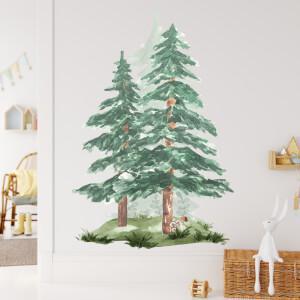 Ihličnaté stromy - akvarelové nálepky na stenu