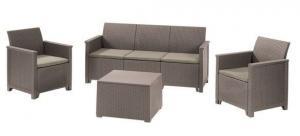 InternetovaZahrada - Záhradná zostava EMMA 3 seaters sofa set - cappuccino