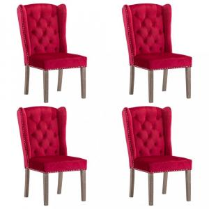 Jedálenská stolička 4 ks zamat / kaučukovník Dekorhome Vínová