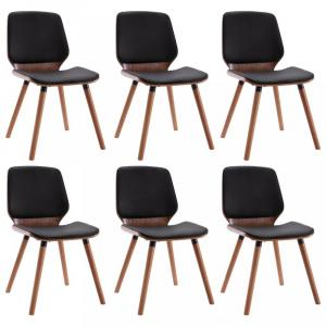 Jedálenská stolička 6 ks Dekorhome Čierna / hnedá