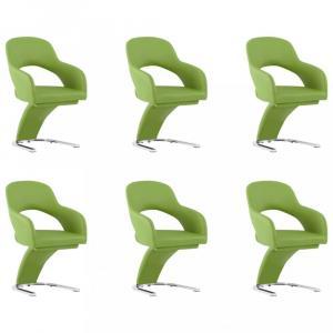 Jedálenská stolička 6 ks umelá koža / chróm Dekorhome Zelená
