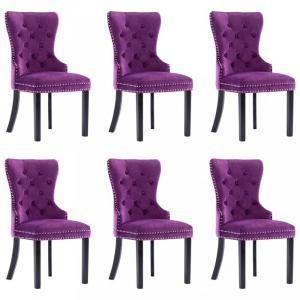Jedálenská stolička 6 ks zamat / kaučukovník Dekorhome Fialová