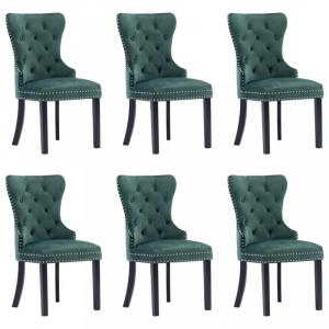 Jedálenská stolička 6 ks zamat / kaučukovník Dekorhome Tmavo zelená