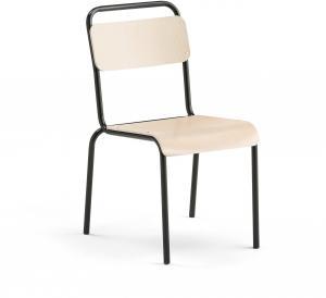 Jedálenská stolička Frisco, čierny rám, brezový laminát