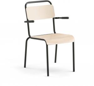 Jedálenská stolička Frisco, s podrúčkami, čierny rám, brezový laminát