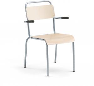 Jedálenská stolička Frisco, s podrúčkami, hliníkový rám, brezový laminát