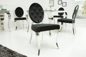 Jedálenská stolička Modern barock čierna okrúhla