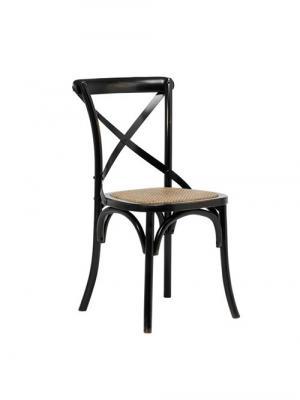 Jedálenská stolička s ratanovým sedadlom Harvest (SET 2 ks), čierna