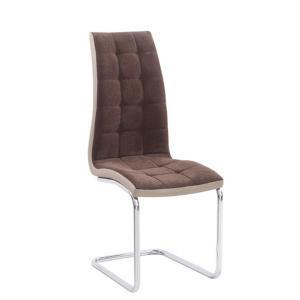 Jedálenská stolička Santa new (hnedá + béžová + chróm)