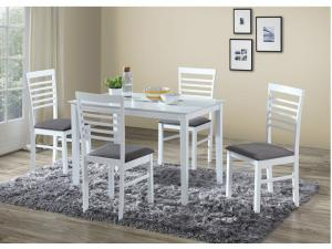 Jedálenský set Brisbo 1+4 (biela + sivá) (pre 4 osoby)