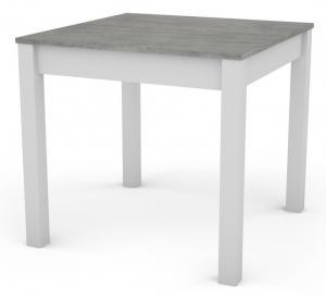 Jedálenský stôl David 80x80 cm, bílý/šedý beton